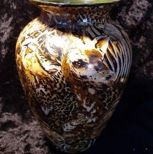 La Vie African Animal Safari Patchwork Print Vase